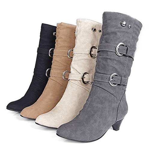 GIY Women'Wide Shaft Slouch Boots Round Toe Mid Calf Dress Boots Trendy Buckle Straps Kitten Heel Knee High Boots
