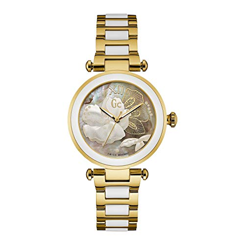 Guess Collection Ladies Watch Swiss Quartz GC LadyChic 2 Tone Gold and White Ceramic Floral Pattern Y21003L1