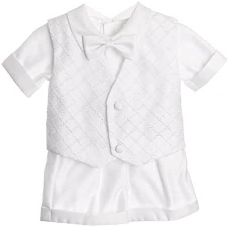 Baby Boys Christening Outfit, Checkered Design Vest Short Set for Baptism By Caldore USA