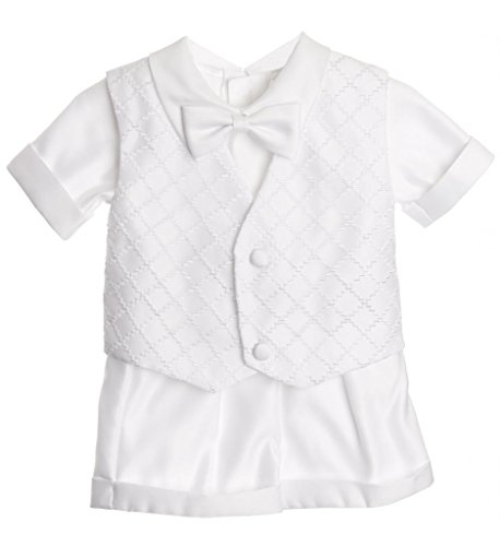 CALDORE USA Baby Boy Christening Outfit - Checkered Design Vest Short Set for Baptism Size 18M White ()