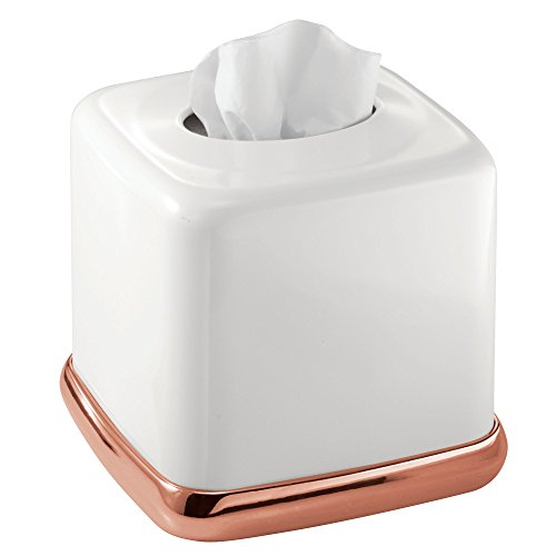 mDesign Boutique Facial Tissue Box Cover for Bathroom Vanity - White/Rose Gold - Vanity Tissue