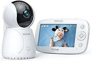 """Victure Babyphone Caméra Moniteur bébé 4.3"""" LCD, Vidéo Bébé Surveillance, Batterie Rechargeable 3200 mAh, Vision..."""