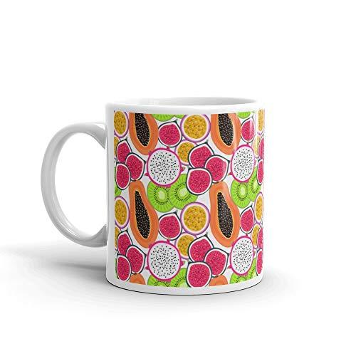 - Seamless Pattern With Tropical Fruits Healthy Dessert Fruity Background Dragon Fruit Kiwi Passion Fig Papaya Tea Mugs Ceramic Cup 11 Oz