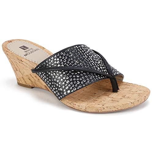 WHITE MOUNTAIN Women's Alexandria Sandal, Black/met/Glitter/Fabric, 8.5 M US