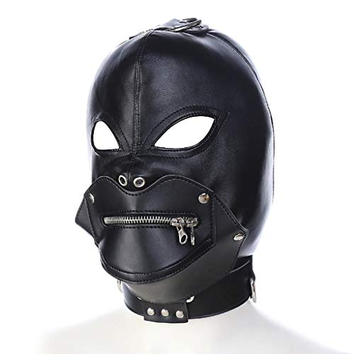 SLH Halloween Devil Head Set Dress Up Couple Game with Zipper Select Leather Couple Mask Binding Passion]()