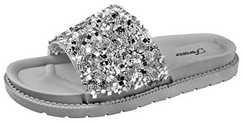 Forever Link Glitter Slide in PVC Molded Footbed Flatform Sandal Slippers Silver Hall-18 7 B(M) ()