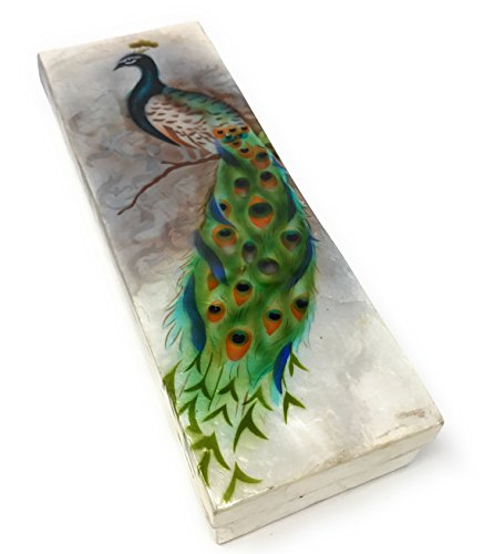 (Kubla Craft Gorgeous Peacock Capiz Shell Keepsake Box, 9 Inches by 3 Inches)