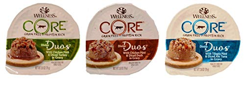 Wellness Divine Duos Grain Free Tasty Pairings Pate Cat Food 3 Flavor Variety 6 Can Bundle: (2) Chicken & Diced Turkey, (2) Chicken & Diced Duck, and (2) Tilapia & Diced Ahi Tuna, 2.8 Oz Ea (6 Cans)