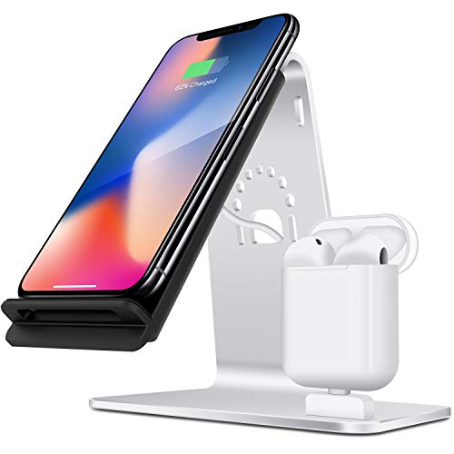 Bestand 2 in 1 Aluminum Charging Station Airpods, Qi Fast Wireless Charger Dock for iPhone X/8 Plus/8/Samsung S8 and Other Qi-Enabled Devices (Airpods Charging Case NOT Included)-Silver