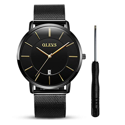 Ultra Thin Watches with Date for Men Waterproof Mesh Strap Watch Mens Unique Watch Fashion Stainless Steel Simple Big Face Dial Quartz Wristwatches with Date Window OLEVS