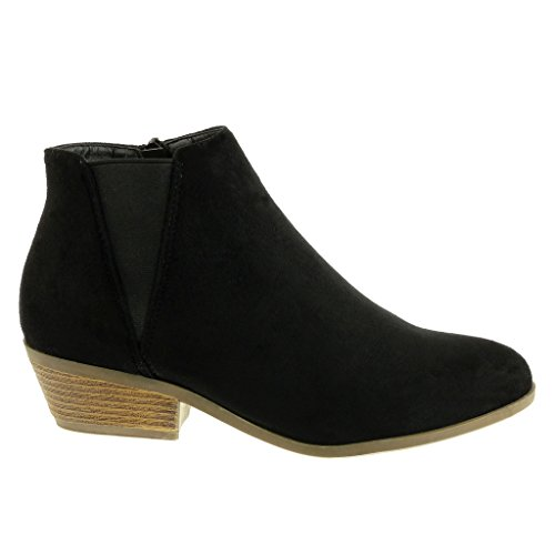 Angkorly damen Schuhe Stiefeletten - Chelsea Boots - Reitstiefel - Kavalier - Biker - elastisch Blockabsatz high heel 4 CM Schwarz