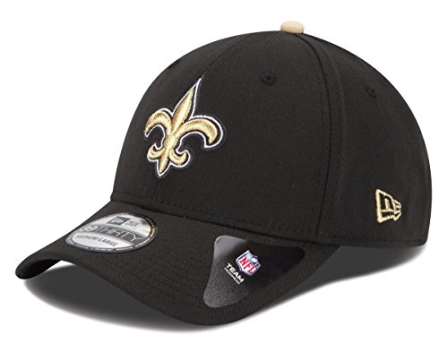 New Era Flex Fit Hats - NFL New Orleans Saints Team Classic 39THIRTY Stretch Fit Cap, Large/X-Large, Black