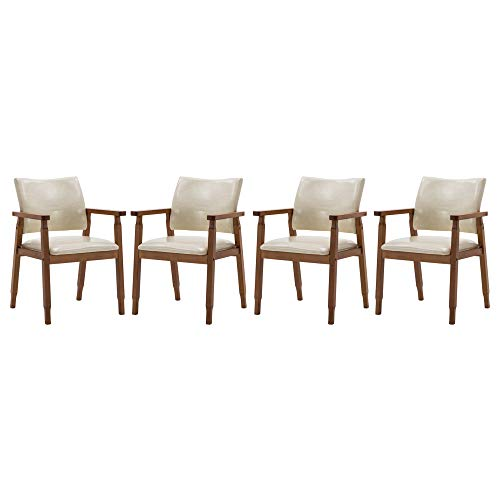 NOBPEINT Mid-Century Dining Side Chair with Faux Leather Seat in Tan, Arm Chair in Walnut,Set of 4
