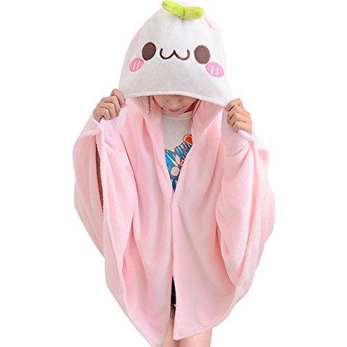 TOMORI Cute Throw Blanket Face Flannel Hoodie Anime Plush Cape Cloak Nap Quilt