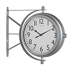 Offex Home Metro Station 18 Dual Face Clock and Thermometer - Silver