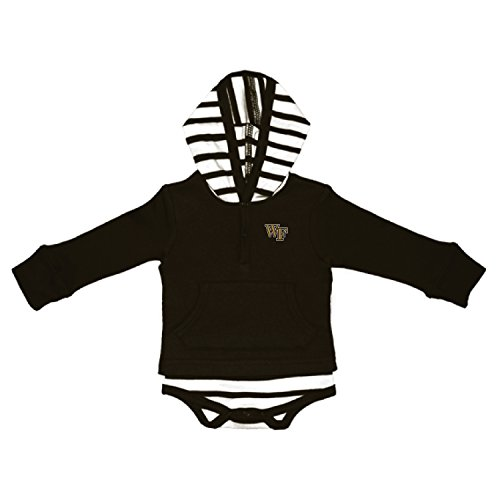 Two Feet Ahead NCAA Wake Forest Demon Deacons Children Unisex Stripe Hooded -