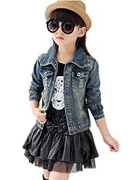 SKY-ST Girls Jacket Denim Jean Stars Outerwear Overcoat Cowboy Coat
