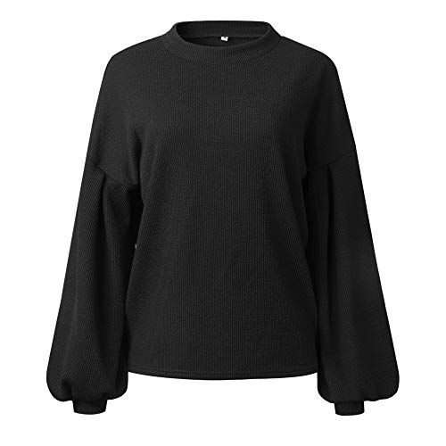 DOLDOA Sweater Fashion Long Tops Round Lantern Solid Sleeve Neck Warm Black Loosen Womens Blouse Knitted Z7BrqZ