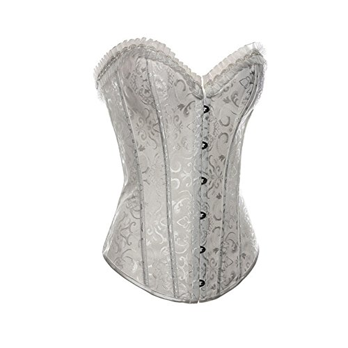 CHNS Women's Lace Up Boned Overbus Cinching Corset Bustier Ruched Rufflet Bodyshaper Top with G-String (2XL, White2) ()