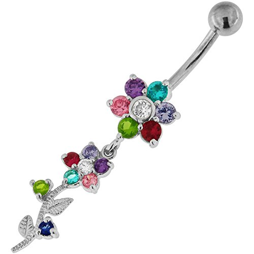 Multi Colored CZ Stone Double Flower with Branch Dangling Silver Belly Button Ring Jewelry