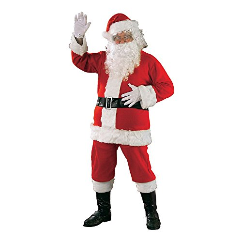 Rubie's Bright Red Flannel Santa Suit With Gloves, Red/White, Standard (Santa Jacket And Hat)