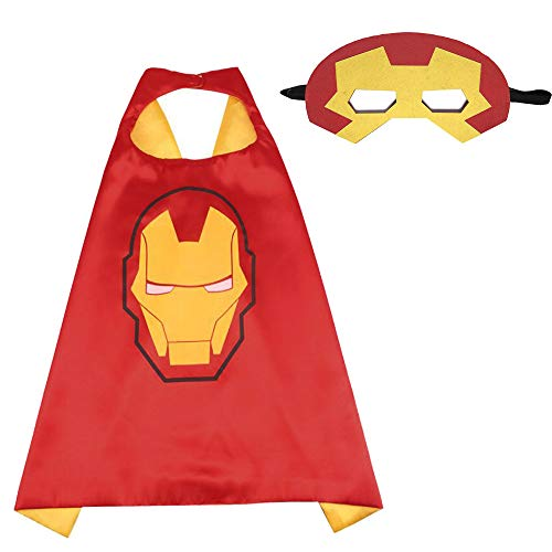Halloween Costumes, Superhero Children's Cloaks and Masks, Boys and Girls Holiday Costumes or Birthday Gifts (Iron Man)]()