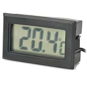 "1.5"" LCD Digital Thermometer w/ Probe - Black"