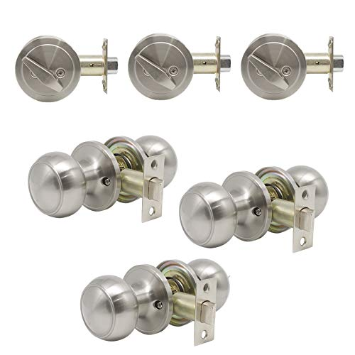3 Pack-Probrico Passage Knobs with Single Cylinder Deadbolts in Brushed Nickel Finish,Door Knobs Hardware,Door Knobs with Lock and Key,Keyed Alike Combo Park