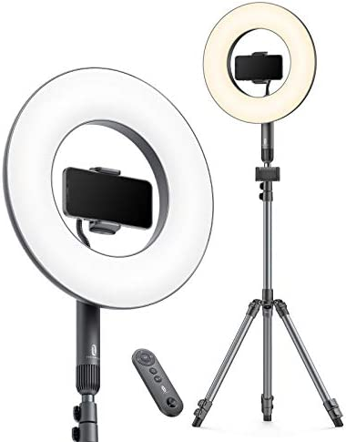 TaoTronics 14'' Selfie Ring Light with Tripod Stand 78'', 2 Phone Holders, 36W 6500K Dimmable LED Camera Ringlight for Live Stream/Makeup/YouTube Video/Photography/TikTok, USB Charging, Remote Control