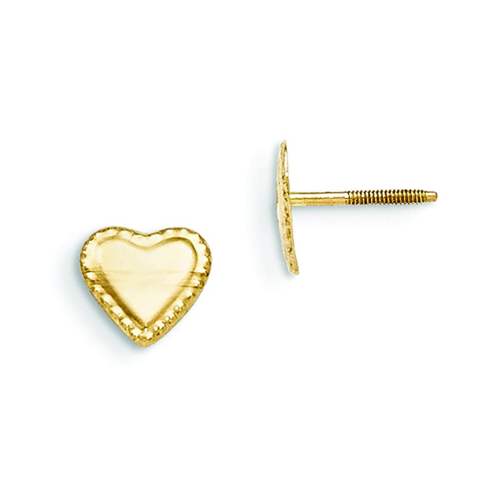 14K Yellow Gold Madi K Childrens 8 MM Heart Screw Back Stud Earrings