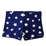 Men's Swimming Trunks Kid Children Boys Star Stretch Beach Swimsuit Swimwear Pants Shorts Clothes (Dark Blue, 9-10 Years)