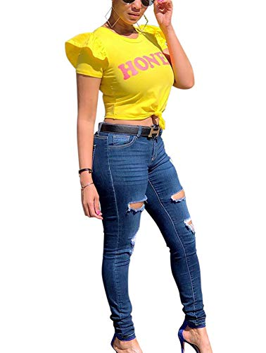 (Women Summer Tee Shirt - Casual Short Ruffle Sleeve Letter Blouse Crop Top Pullover Tshirts Yellow L)