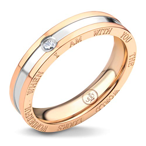 - 555Jewelry Womens Long Lasting Elegant Stainless Steel Two Tone Romantic Engraved Cz Bezel Polish Band Couple Engagement Love Promise Fashion Jewelry Accessory Rings, Silver & Pink Rose Gold Size 5