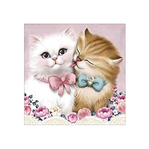 attrasfjwanrw Two-Cat Kitten Cross Stitch Embroidery Partial Round Diamond Painting Gift 30x30cm