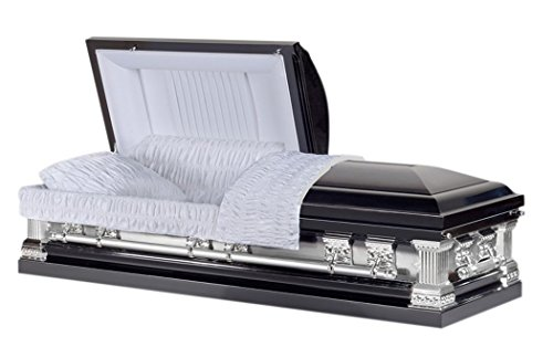 Overnight Caskets - Knight Black Brush with Velvet Interior - 18 Gauge Metal Casket - Coffin ()