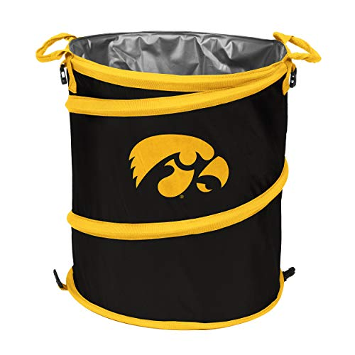 Logo Brands NCAA Iowa Hawkeyes 3-n-1 Collapsible Trash Can, Cardinal ()