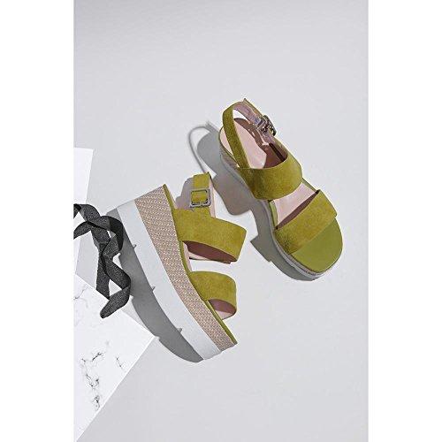 de Cinturón con Plataforma Toe Delicada Mujer LZ Zapatos Hebilla Peep Confort Para Sandalias Moda KJJDE Mujeres Zapatilla Zapatos Q25D3 Caminar Yellow Tacón Chanclas de q68wWS5
