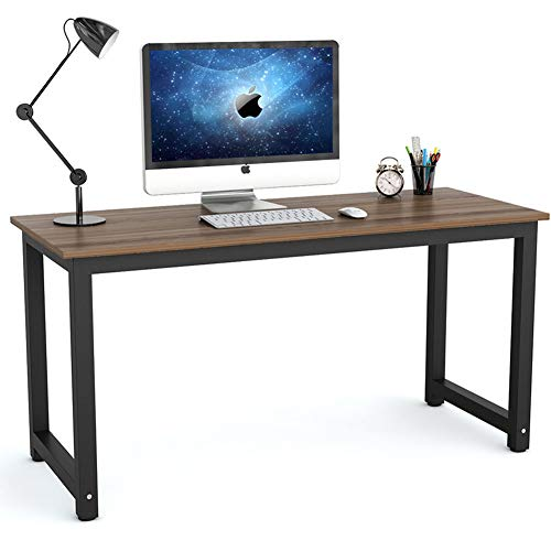 Tribesigns Modern Computer Desk, 55 inch Large Office Desk Computer Table Study Writing Desk for Home Office, Dark Walnut + Black Leg