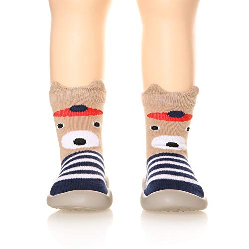 (Childrens Toddlers Moccasins Slipper Floor Anti-Slip Breathable Cotton Kids Baby Boys Girls Indoor Outdoor Shoes Socks (Stripe Bear, Insole :4.7 Inch(12.0 CM)))