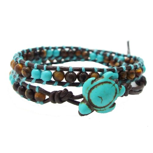 - AeraVida Ocean Sea Turtle Simulated Turquoise and Tiger's Eye Double Wrap Leather Bracelet