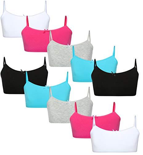 Rene Rofe Girls Cotton Spandex Cami Crop Training Bra with Adjustable Straps (10 Pack), Asst #2, Size -
