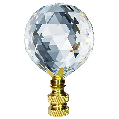 Crystal Finial Swarovski Strass Clear Faceted 30mm Ball Prism Dazzling Lamp Shade - Crystal Strass Swarovski Brass