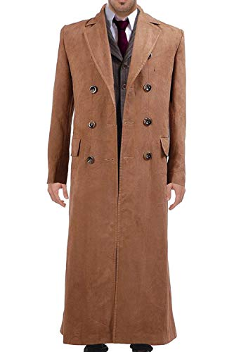 GOTEDDY Halloween Cosplay Long Trench Coat Suit Brown Costume (XL) -