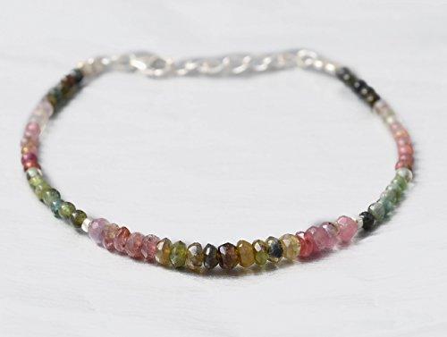 Dainty Watermelon Tourmaline Beads Bracelet for women with 925 Silver Findings 6.50