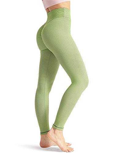 QOQ Women Ruched Butt Lifting Yoga Pants High Waisted Tummy Control Workout Leggings Textured Booty Tights S