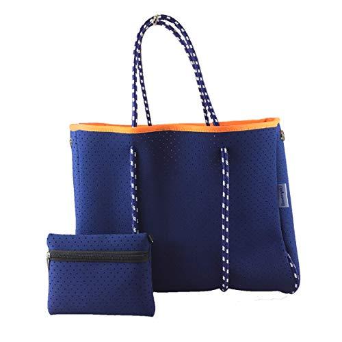 Limenya Neoprene Beach Bag Tote for Women with Inner Zipper Pocket
