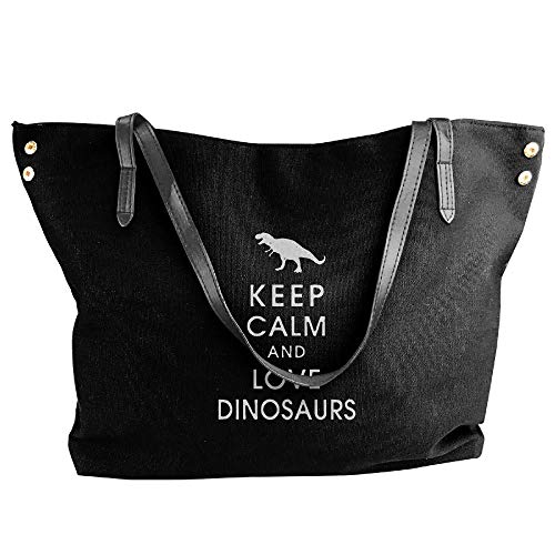 Keep Calm Love Dinosaurs Women's Casual Canvas Shoulder Bag Handbag Shoulder Tote For -