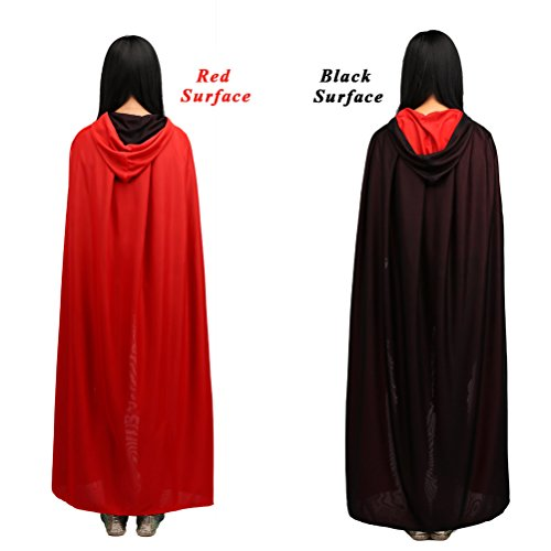 [Halloween Hooded Cape 59 inch Hooded Robe Cloak Fancy Cool Cosplay Costume for Adult (Double 150cm)] (Velvet Gothic Cloak 63 Deluxe Costumes)