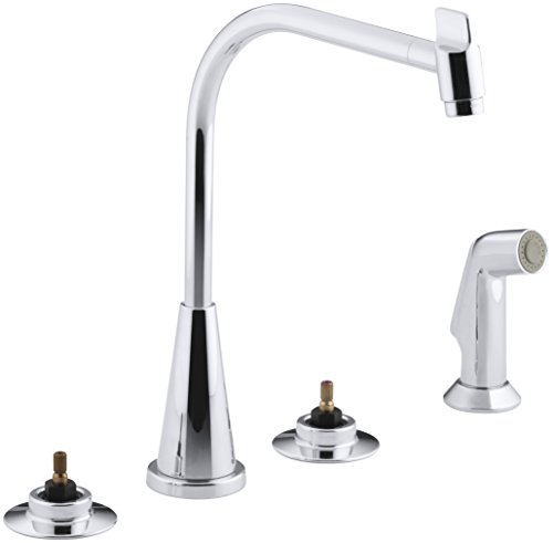 KOHLER K-7779-K-CP Triton Kitchen Sink Base Faucet, 12-1/4-Inch Spout Height, Polished Chrome (Handles Not Included)