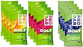 product image for Probar Bolt Organic Energy Chews Set Mixed Berry, Orange and Raspberry - Four of Each Flavor, Box of 12